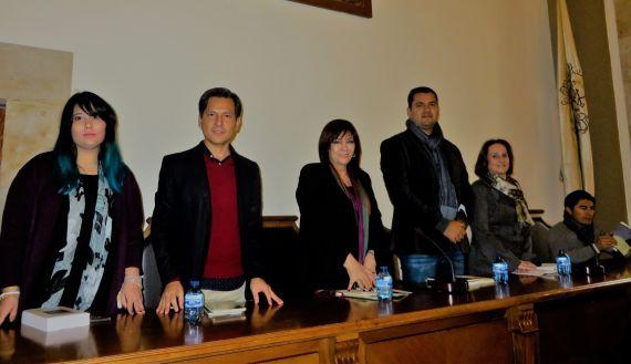 15 Camargo, Santiago, Gentile, Olivas, Ferrer y Rodrigo, en el Aula Magna (foto de J. Alencar)