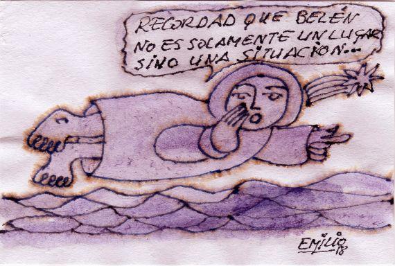 16 Dibujo y mensaje del poeta Emilio Rodríguez (España)