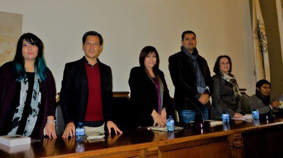 3 Camargo, Santiago, Gentile, Olivas, Ferrer y Rodrigo, en el Aula Magna de la Facultad de Filología (foto de J. Alencar)
