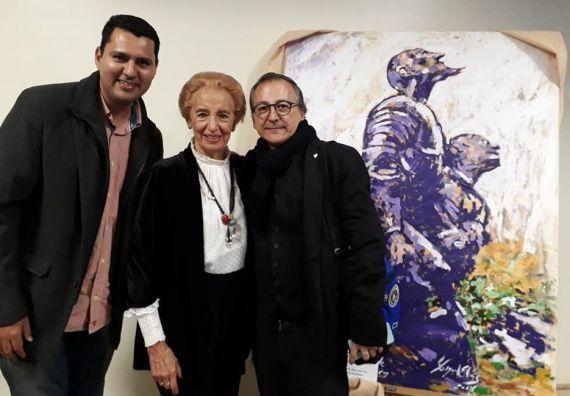 4 Olivas con Pilar Fernández Labrador y el pintor Miguel Elías