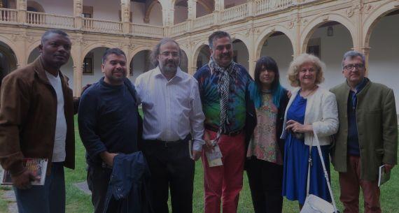 9 Saint-Fleur, Gatica, Alencart, Molina, Camargo, Bulzan y Cabarcas, en el Colegio Fonseca de la Usal (foto de J. Alencar)