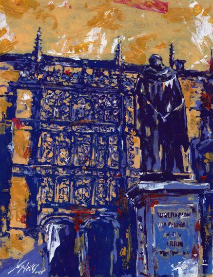 2 Fachada y estatua de Fray Luis, pintura de Miguel Elías