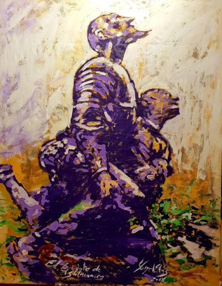 7 Don Quijote y Sancho en oración, obra de Miguel Elías para Juan carlos Olivas