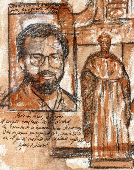 9 Alencart y la estatua de Fray Luis (Pintura de Miguel Elías)
