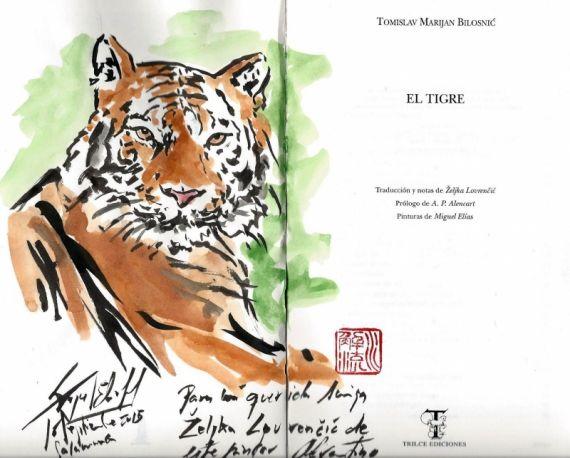 6 Tigre, pintado en el libro por Miguel Elías