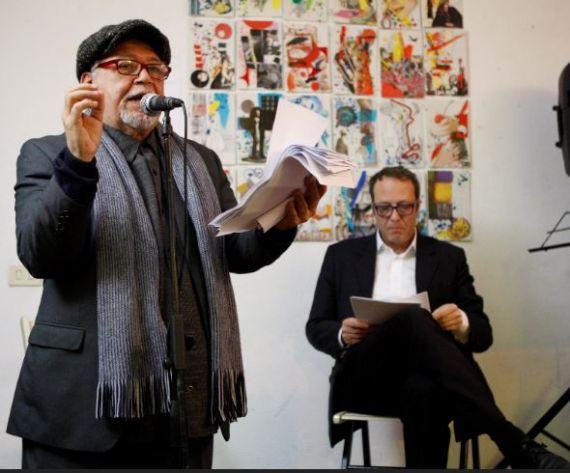 8 José Pulido con el poeta Claudio Pozzani, uno de los grandes de Génova. Foto Gabriela Pulido Simne