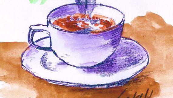 8 Taza de Café, dibujo de Miguel Elías
