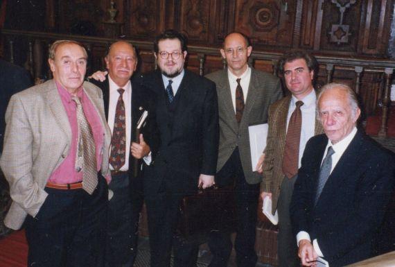 4 Tundidor, Ledesma, Castelo, Piedra, Molina y Romualdo en el I Encuentro de Poetas Iberoamericanos (Salamanca, 1998. Foto de Luis Monzón)