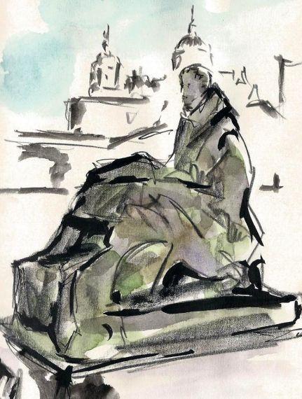 1 Boceto San Juan de la Cruz y catedral, de Miguel Elías