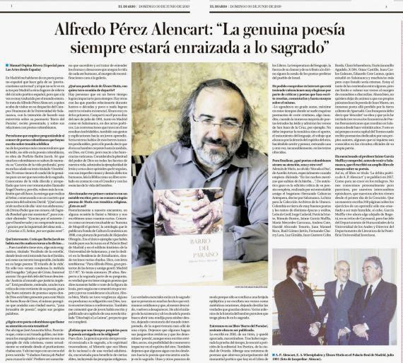 6 Entrevista en el suplemento Las Artes, de El Diario, periódico de Pereira